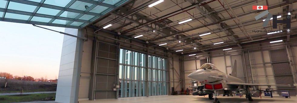 canada british aerospace hydroswing hydraulic doors custom glass cladding