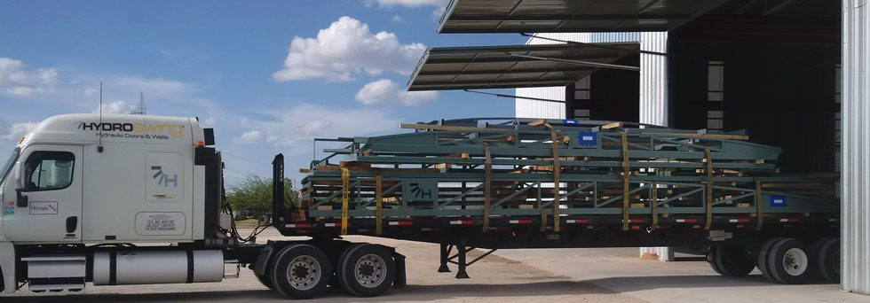 hydroswing factory truck loaded with hydraulic doors