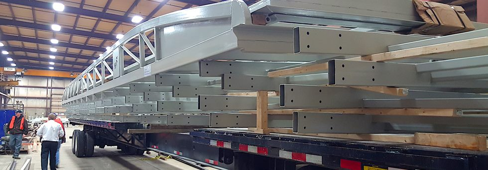 hydroswing hydraulic doors loaded on shipping trailer