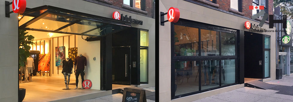 lulu lemon places its trust in hydroswing for its storefront canada