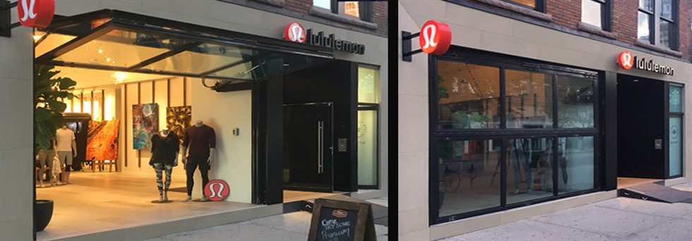 lulu lemon places its trust in hydroswing for its storefront