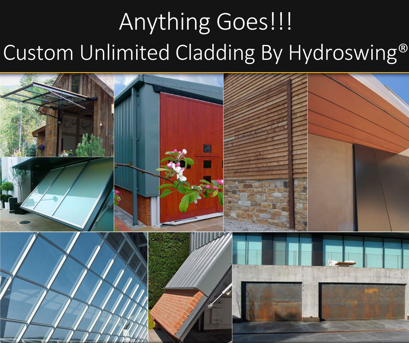 custom unlimited cladding options offered by hydroswing