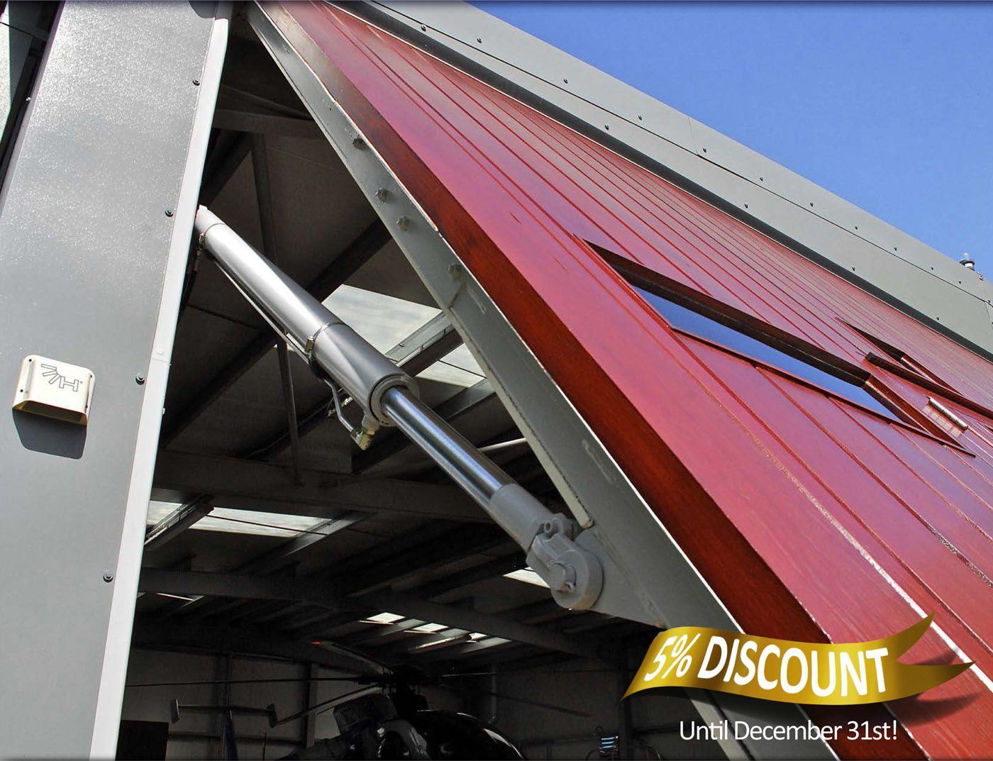hydroswing helicopter hangar door five percent discount offer