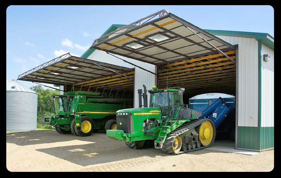 hydroswing hydraulic doors in agriculture farming machine shops john deere