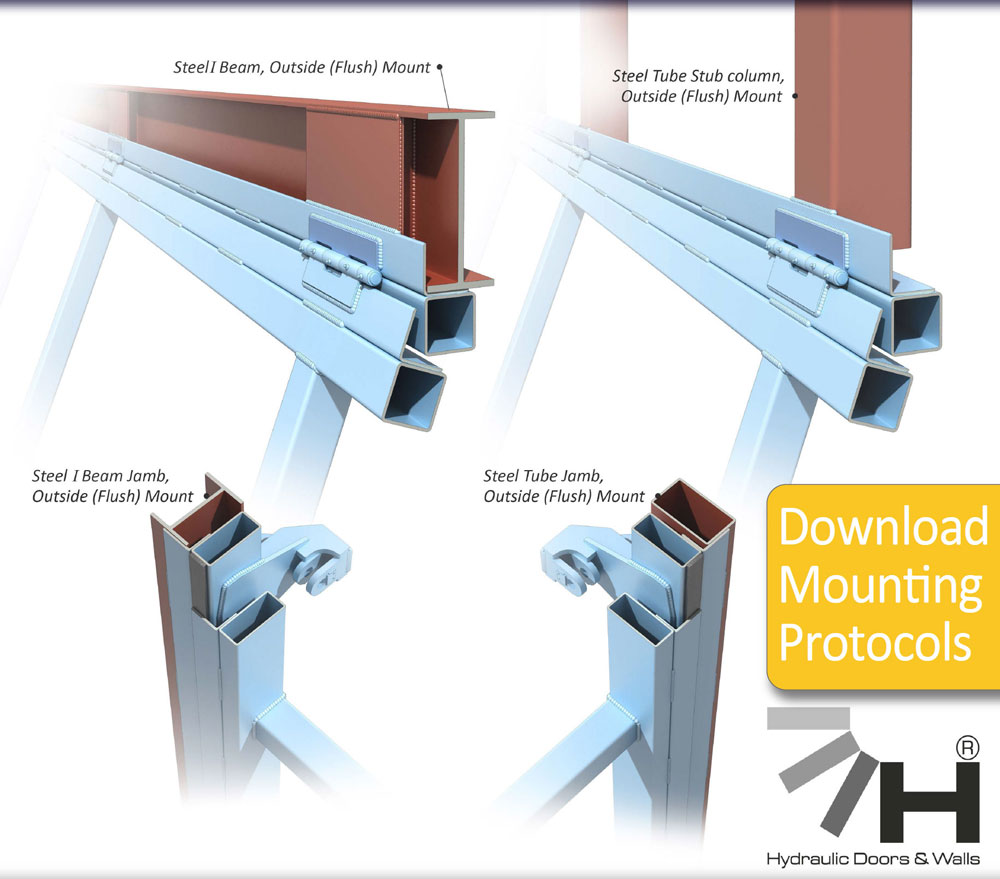 hydroswing hydraulic doors mounting protocols steel i beem