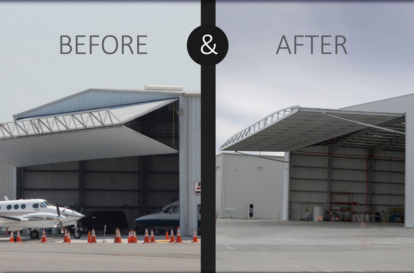 invest in your hangar by replacing your bifold door with a hydroswing hydraulic door