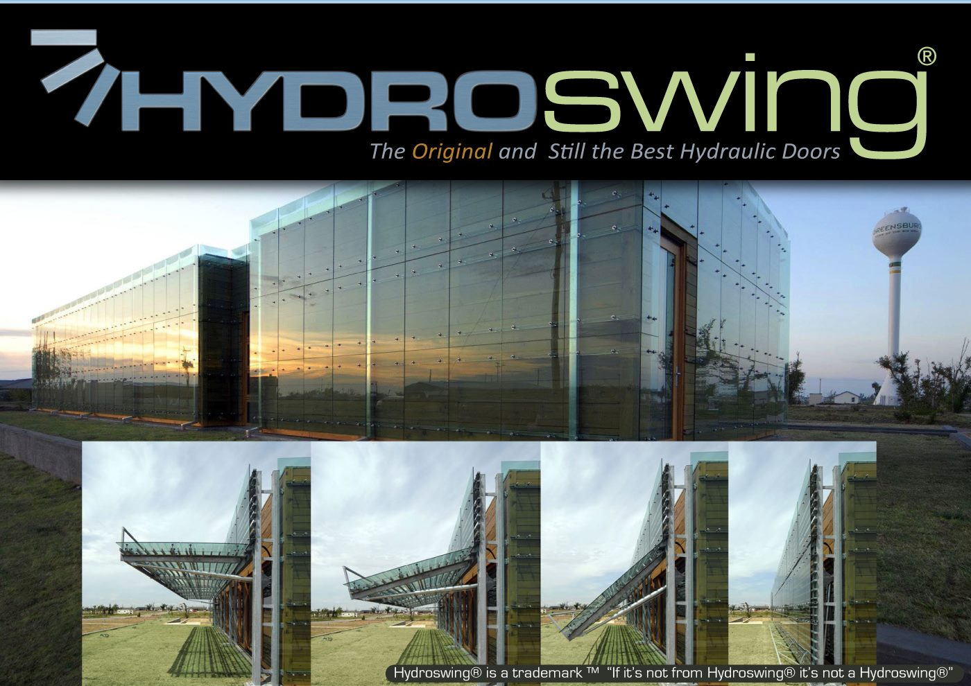 architectural hydraulic doors with glass covering