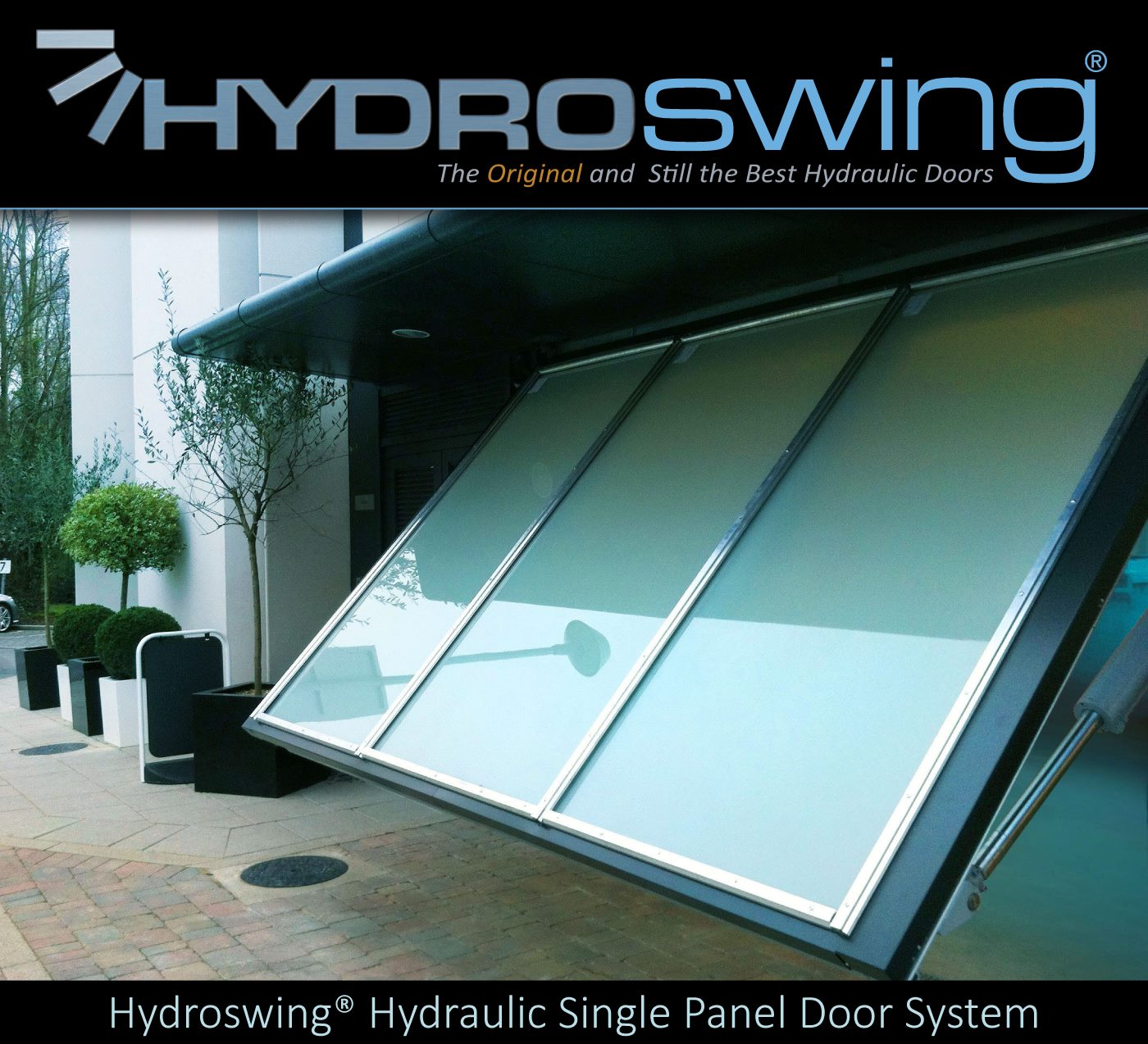 glass hydroswing hydraulic single panel door system
