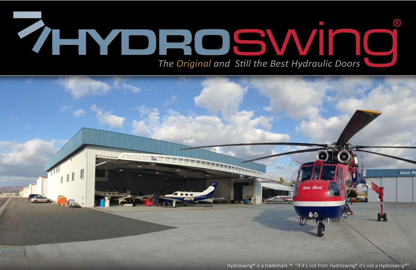 hydroswing helicopter hangar doors use hydraulics to open