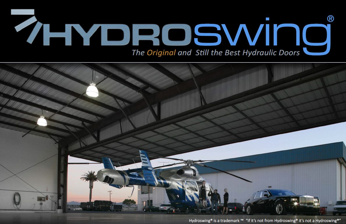 hydroswing hydraulic doors private aviation helicopter hangar rolls royce