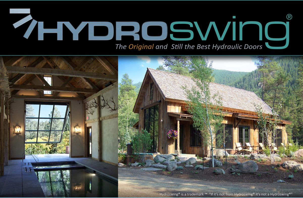 outdoor pool house fitted with hydraulic door by hydroswing